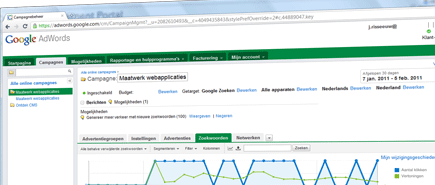Screenshot Google Adwords - Zoekmachine optimalisatie